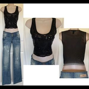 Forever 21 Sequin Beaded Mesh Black Crop Tank Top